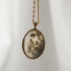 Vintage Photo of woman Oval Glass Pendant Necklace in Antique Bronze with free chain OB1