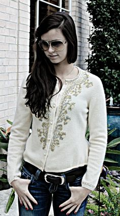 Vintage Angora Beaded Sweater found at a Houston Thrift Shop!