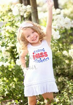 Future Miss America July 4th Embroidered Shirt One Piece- Red White Blue- Independance Day - Headband -Dress Girl by InspiredFlair on Etsy