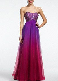 Stealing the spotlight is easy in this exceptional ombre strapless stunner! No detail is overlooked in this gorgeous tulle prom dress Multi-colored beaded bust is accented by fashion-forward cutouts. Bright ombre fabric is right on trend. Fully lined. Back zip. Imported. Dry clean. Available in Plus sizes as Style 51863W.A popular neckline for brides seeking a stylish and versatile look (offering unlimited jewelry and accessory options).A sheer to semi-sheer net fabric often used for skirts…