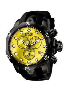 Men's Venom Round Black & Yellow Watch by Invicta Watches // #fodasso