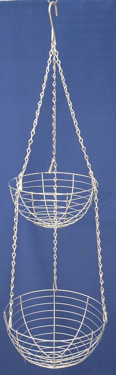 Looking for durable USA made tier baskets for plants or retail fruit displays - we can make it and better quality. Top basket diameter and deep. Bottom basket diameter and deep. All made with the use of galvanized wire. Wire Baskets, Hanging Baskets, Hanging Chair, Plant Basket, Fruit Displays, Topiaries, Plant Hanger, Container Gardening, Gardens