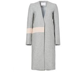 Rental ELLIATT Grey Wool Abstract Coat ($40) ❤ liked on Polyvore featuring outerwear, coats, dresses, grey, gray coat, woolen coat, wool coat, grey coat and long sleeve coat
