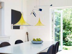 Lys & Lamper: Flot gul semi pendel lampe