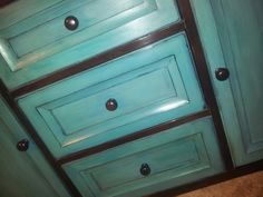 Distressed turquoise That kind of a shine with wax!