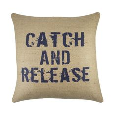 """Catch and Release Pillow, Burlap Rustic Pillow, Fishing Decor, Adirondack, 16"""" on Etsy, £28.10"""
