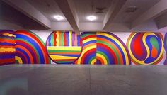 -Sol Lewitt I like how the wall drawings are full of color, and they are not boring. This different lines, movements, and colors will brighten my day.