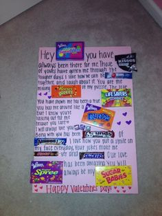 Made This For G Boyfriend Valentine S Day Card Candy Poster