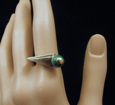 OOAK Artisan-Made Sterling, Gold and Malachite Ring, Size 7. $53.00, via Etsy.