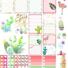 Flamingo Cacti Happy Planner Sticker Sheet at Mint Fox Stationary To Do Planner, Free Planner, Planner Pages, Happy Planner, Weekly Planner, Wash Tape, Planer Organisation, Printable Planner Stickers, Free Printables