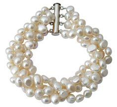 Pulsera de cuatro vueltas con perlas barrocas blancas cultivadas de agua dulce con broche en plata