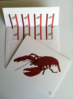 Lobster Note Cards with coordinating lined by IdAndEgoCreations, $2.75