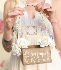 here comes the bride rustic flower girl basket / http://www.deerpearlflowers.com/flower-girl-basket-ideas/