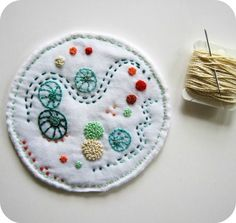 Hand Embroidered Miniature Art Quilt - Petri Dish