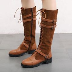 Boot Type: Fashion Boots Material: PU Lining Material: PU Outsole Material: Rubber Toe: Round Toe. Wide Calf Boots, Knee High Boots, Flat Boots Outfit, Brown Boots, Black Boots, Mode Shoes, Winter Fashion Boots, Buy Shoes Online