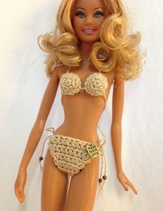 Golden Barbie Doll Bikini Swimwear for sell. Glittering Gold Cotton Yarn with Made with Love Charm attached. This order is for final product.