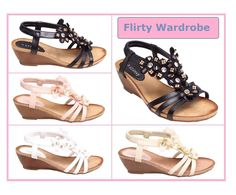 Womens Ladies Strappy Flower Diamante Fashion Ankle Wedge Sandals Buckle Shoes #Unbranded #AnkleStraps #BeachCasual