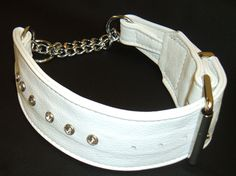 A stunning hand crafted white leather martingale dog collar with diamante's by www.newforestcrafts.co.uk