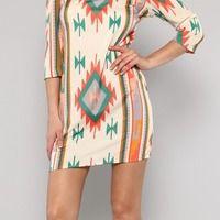 Paige Tribal Print Dress - Thumbnail 1