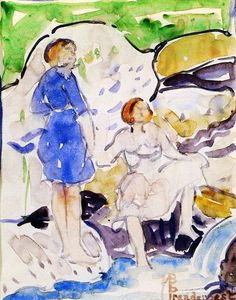 Maurice Prendergast - Two Girls by a Waterfall