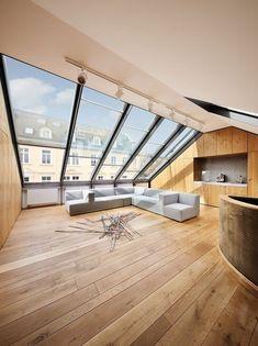 salon en bois clair et fenêtre de toit velux
