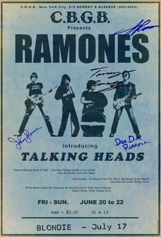 """The Ramones 1975 CBGB's """"Signed"""" Concert Poster Talking Heads Blondie Autograph 