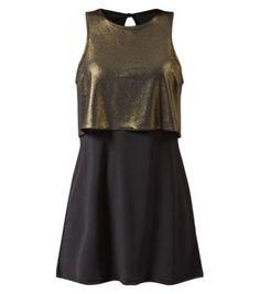 Agenda Black Metallic Double Layer Dress