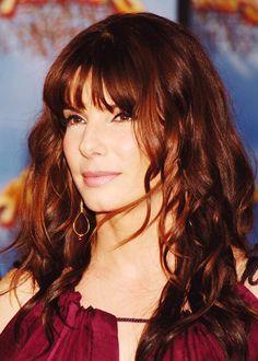Sandra Bullock #copper highlights #hairstyle