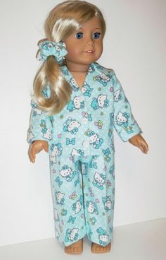 Hello Kitty Pajamas  American Girl Doll Clothes by Dearmissfit, $18.00