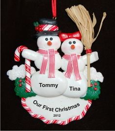 Our First Christmas Snow Couple Newlyweds Ornament