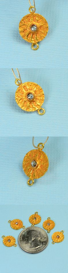 Other Jewelry Design Findings 164356: 18K Solid Yellow Gold Champagne Diamond Sand Dollar Intaglio Connector Pendant BUY IT NOW ONLY: $71.99