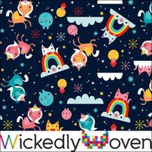 """""""Unicorn and Friends"""" Custom Print Organic Cotton Lycra Jersey Knitted Fabric, Woven Fabric, Oeko Tex 100, Fashion Fabric, Custom Fabric, Printed Cotton, Organic Cotton, Unicorn, Sewing"""