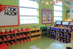 Astrobrights Brightest Teacher Classroom Makeover Reveal 2017 - Throw Kindness like Confetti and Book Nook for a class library Kindergarten Classroom Setup, Kindergarten Colors, Classroom Layout, Classroom Organization, Classroom Décor, Classroom Management, Book Bins, Diy Classroom Decorations, Book Nooks