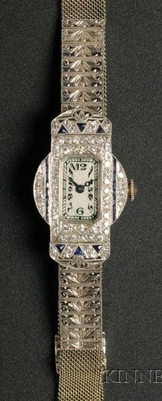 Lady's Art Deco Waltham Platinum, 18kt White Gold, Diamond, and Sapphire Wristwatch