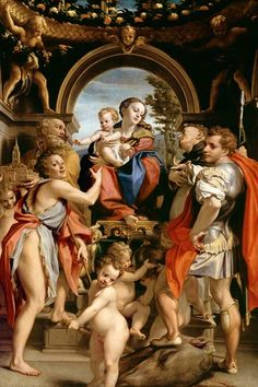 Oil Paintings of 0 Madonna With St George religious Renaissance Mannerism Antonio da Correggio Art for sale by Artists Renaissance Kunst, High Renaissance, Renaissance Paintings, Hl Georg, Giorgio Vasari, Madonna And Child, Oil Painting Reproductions, Saint George, Italian Art