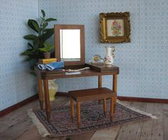 Vintage Doll Furniture   Wooden Vanity and Bench for by TheToyBox
