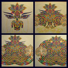 Progress shots of 'wisdom eyes - Yoga Art, Visionary Art, Installation Art, Circles, Lotus, Buddha, Graffiti, Street Art, Wisdom