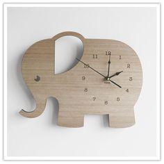 Elephant laser cut Wooden clock. So cute for baby's nursery.
