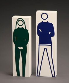 Julian Opie, 'Beth, Jumper and Jeans' and 'Christian, Turtleneck, T-Shirt and Jeans': Two Works: each signed 'Julian Opie' and titled on underside.  Each: vinyl on wood  First: 12-1/4 x 3-1/2 x 2 in (31.1 x 8.9 x 5.1 cm)  Second: 13-1/2 x 4 x 2 in (34.3 x 10.2 5.1 cm