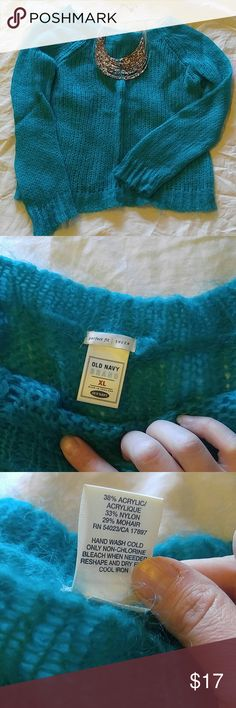 Turquoise Mohair sweater Beautiful turquoise blue part mohair, part acrylic sweater. Great condition, only worn twice! Boat neck style, long sleeve in Size XL Old Navy Sweaters Crew & Scoop Necks