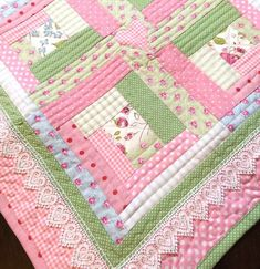 Modern Log Cabin, Baby Girl Quilt , Pink Baby Quilt - Cottage Chic -  Quilt - Baby Blanket, Hearts & Lace Trim                                                                                                                                                                                 More