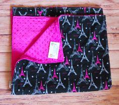 Girls Paris Eiffel Tower Cotton minky backed by LittleDivasnDudes, $30.00