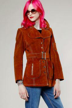 Vintage 70s Rust Suede Snap Up Jacket Coat #70s #suede #vintage #thriftedandmodern