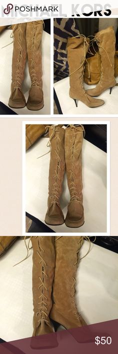 Michael Kors all suede lace heel boots size 9 Beautiful genuine leather boots by Michael Kors in excellent condition size 9 Michael Kors Shoes