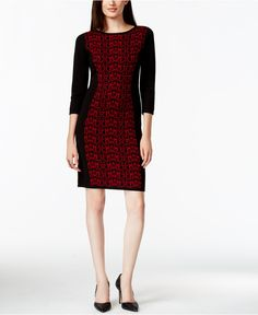 Nine West Printed Panel Sweater Dress - Dresses - Women - Macy's
