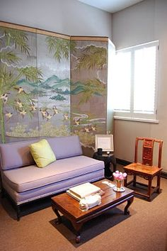 Habitually Chic®: Chic in LA visits Madeline Stuart: The Designing Woman's office, whose design style is both serious and beautiful. A stunning Chinoiserie screen and beautiful lavender settee sits on one side of the office area, and the color combination was even more stunning in person!