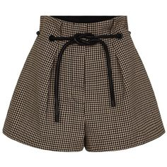 3.1 Phillip Lim Origami Pleat Short (355 BGN) ❤ liked on Polyvore featuring shorts, bottoms, multi, drawstring shorts, brown shorts, draw string shorts, leather shorts and pleated shorts