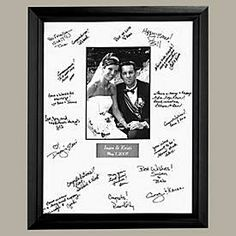 Wedding Autograph Frame 11X 14 with a 5X7 picture inside. Price: $29.99 Guest Book