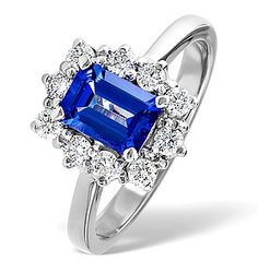 Tanzanite 7 x And Diamond White Gold Ring - Item Tanzanite Stone, Tanzanite Ring, Tanzanite Engagement Ring, Gold Engagement Rings, Gold Diamond Rings, White Gold Rings, Diamond Stores, Round Diamonds, Delivery