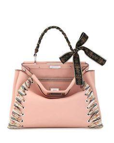 V3CKF Fendi Peekaboo Medium Ribbon Whipstitch Satchel Bag, Light Pink